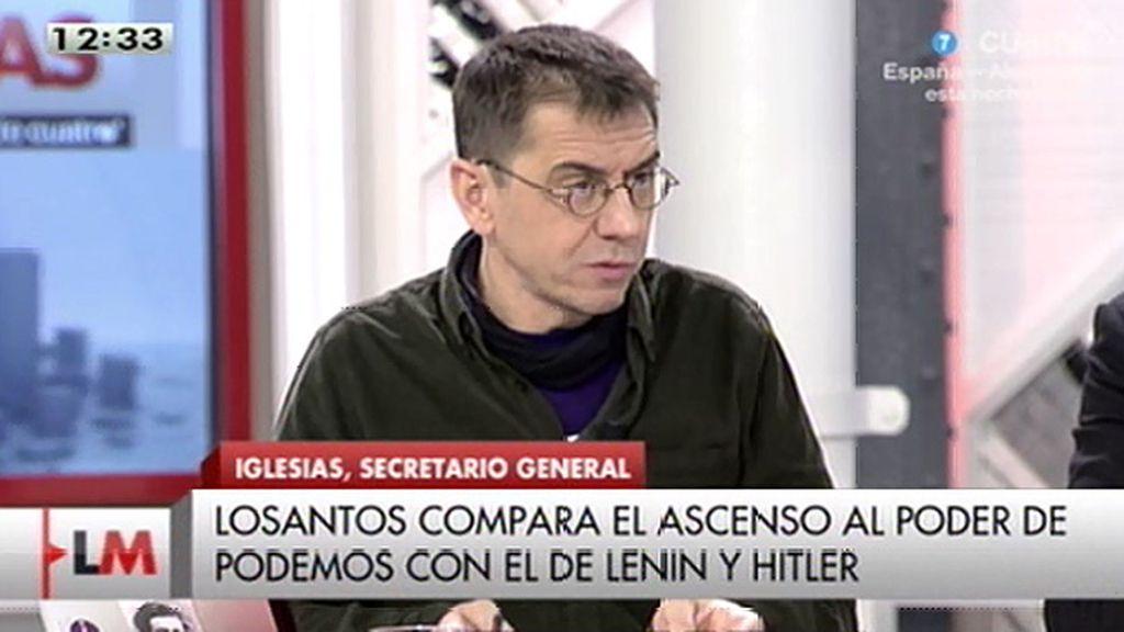 """Monedero, irónico: """"Es absolutamente falso que Losantos esté en la nómina de Podemos"""""""