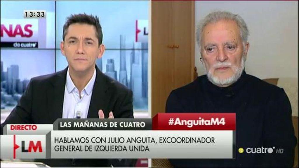 """Julio Anguita: """"Estamos obsesionados con los resultados pero el poder, en estos momentos, está en la Unión Europea"""""""