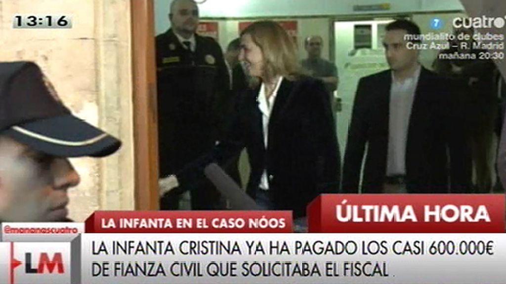 La Infanta Cristina deposita los 587.000 euros que le solicitaba la Fiscalía