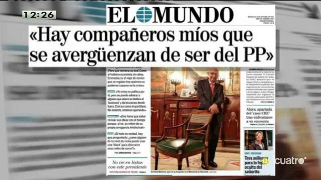 """Cristóbal Montoro: """"Hay compañeros míos que se avergüenzan de ser del PP"""""""