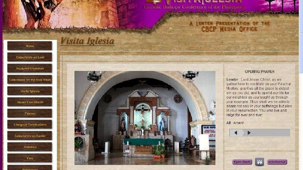 Vista de la página web visitaiglesia.net que permite a los filipinos que se encuentran en el extranjero o con mala salud cumplir por internet con algunas obligaciones religiosas propias de la Semana Santa. EFE