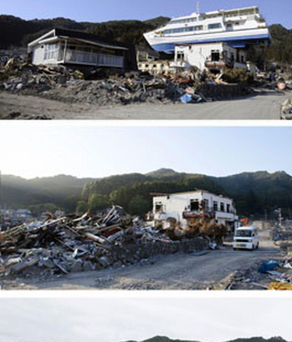 En Otsuchi, un barco fue arrastrado encima de una casa