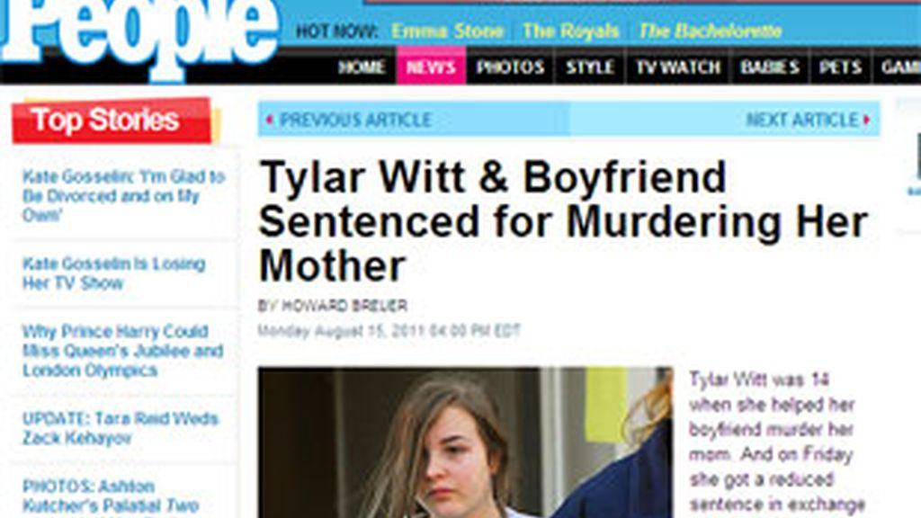 Tylar Witt, condenada a 15 años de prisión por haber matado a su madre. Foto: People.