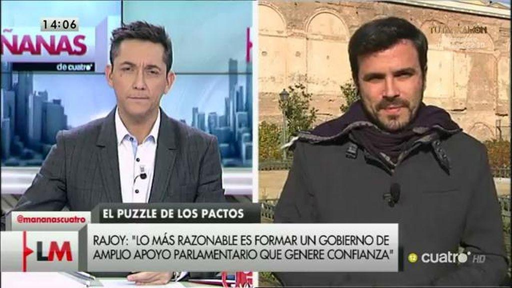 """A. Garzón: """"Espero que el PSOE no entre en esa gran coalición"""""""