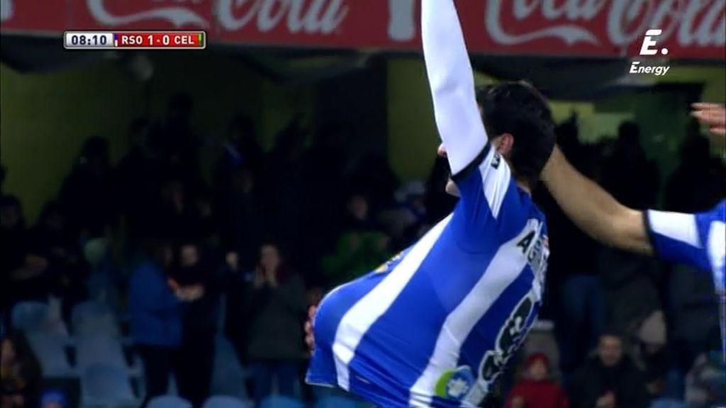 Agirretxe aprovecha la asistencia de crack de Xabi Prieto para adelantar a la Real Sociedad