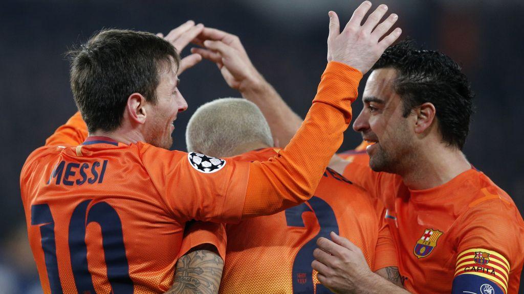 El FC Barcelona celebra el primer gol al PSG