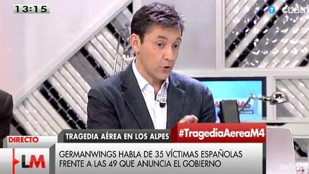 """J. Ruiz: """"El gobierno dice que son 49 los muertos españoles, Germanwings dice 35"""""""