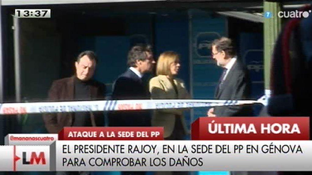 Rajoy visita la sede del PP en Génova para comprobar los daños