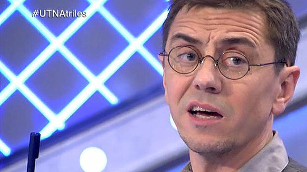 """Monedero, a Arenales: """"Si tuvieras decencia no amenazaríais a todo aquel que señala los casos de corrupción de tu partido"""""""