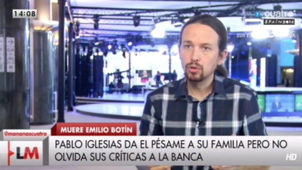 """Pablo Iglesias, sobre Botín: """"Representó el excesivo poder político de los bancos"""""""