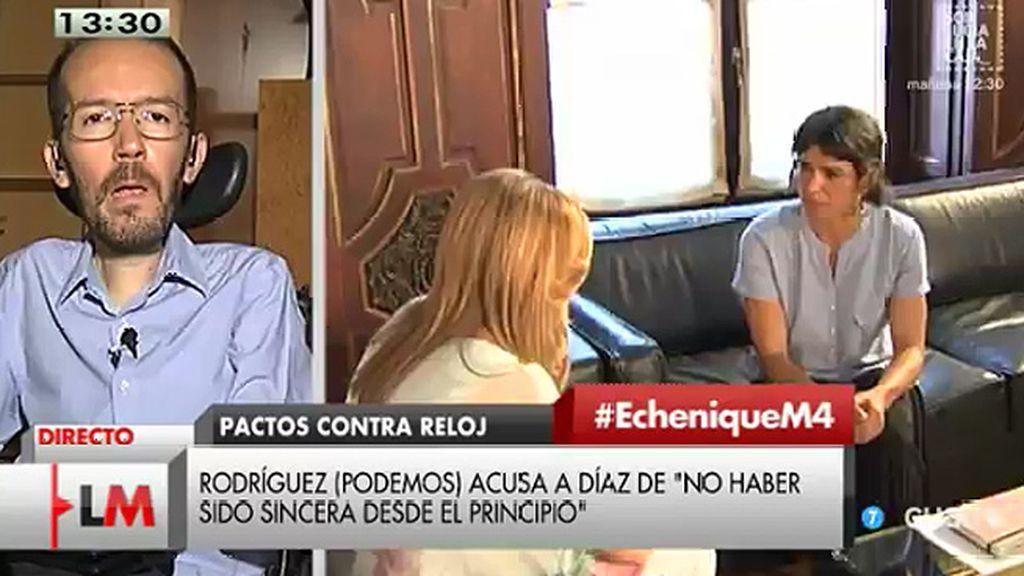 """P. Echenique, sobre los pactos en Andalucía: """"Ha habido un portazo de Susana Díaz"""""""