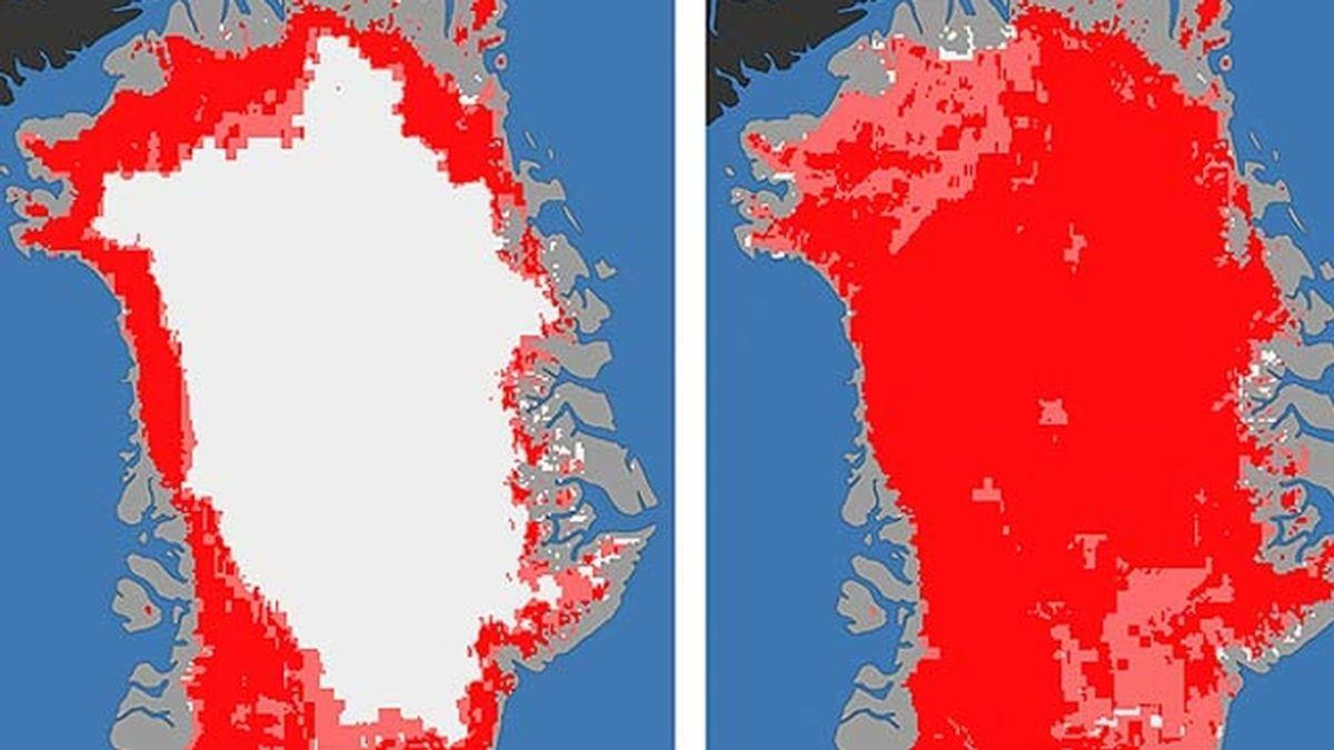 Imagen de la superficie de Groenlandia con hielo y sin él.