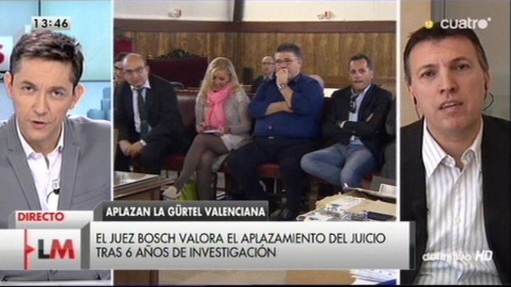 """El juez Bosch, sobre el aplazamiento de la Gürtel valenciana: """"No hay voluntad política de acabar con la corrupción"""""""