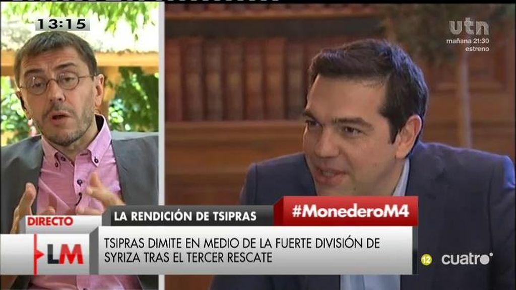 "Monedero critica a Tsipras: ""No puedes cazar dragones con un cazamariposas"""