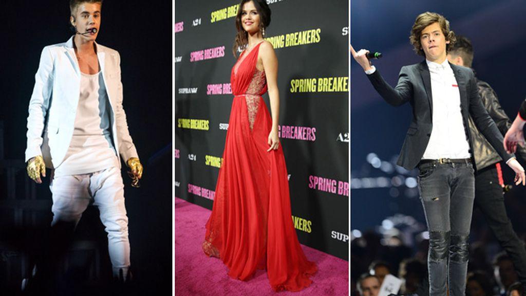 Harry Styles,Justin Bieber y Selena Gomez