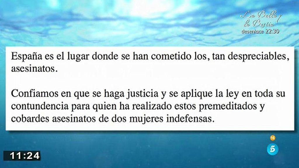 """Los Morate: """"Confiamos en que se haga justicia y se aplique la ley con contudencia"""""""