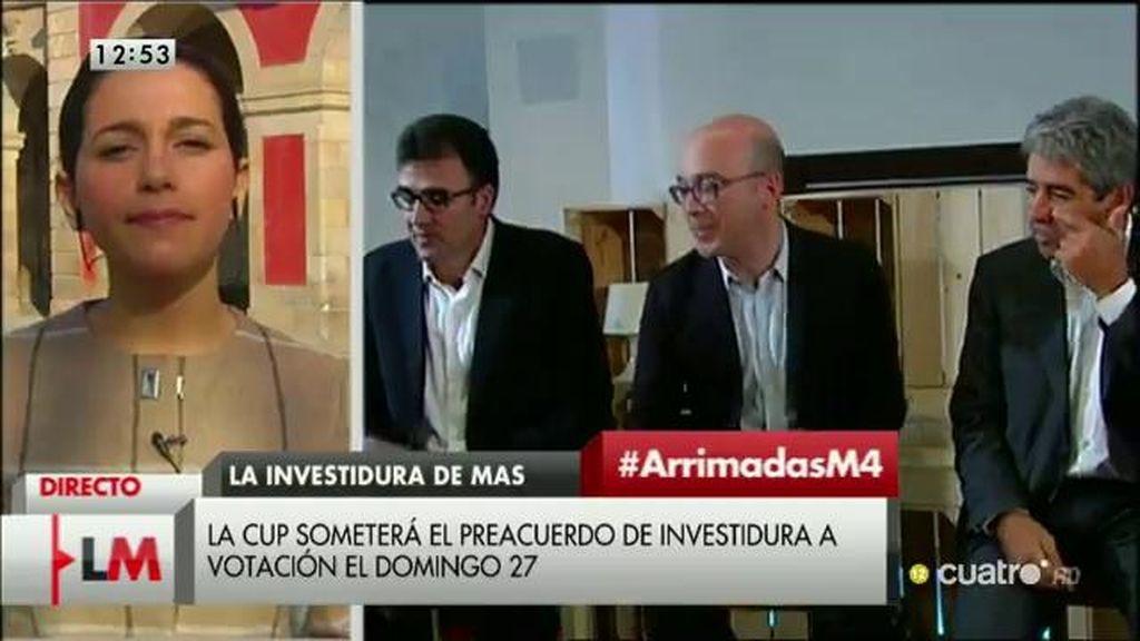 """Arrimadas: """"Me preocupa que el futuro de los catalanes esté en manos de La CUP"""""""