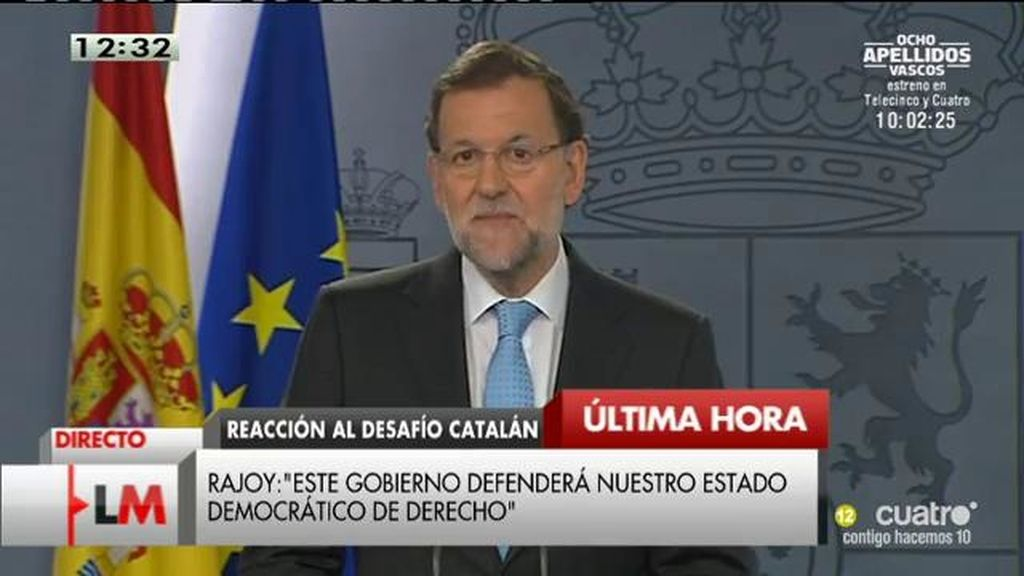 """Rajoy: """"Estamos defendiendo los derechos de todos los ciudadanos, especialmente de los catalanes"""""""