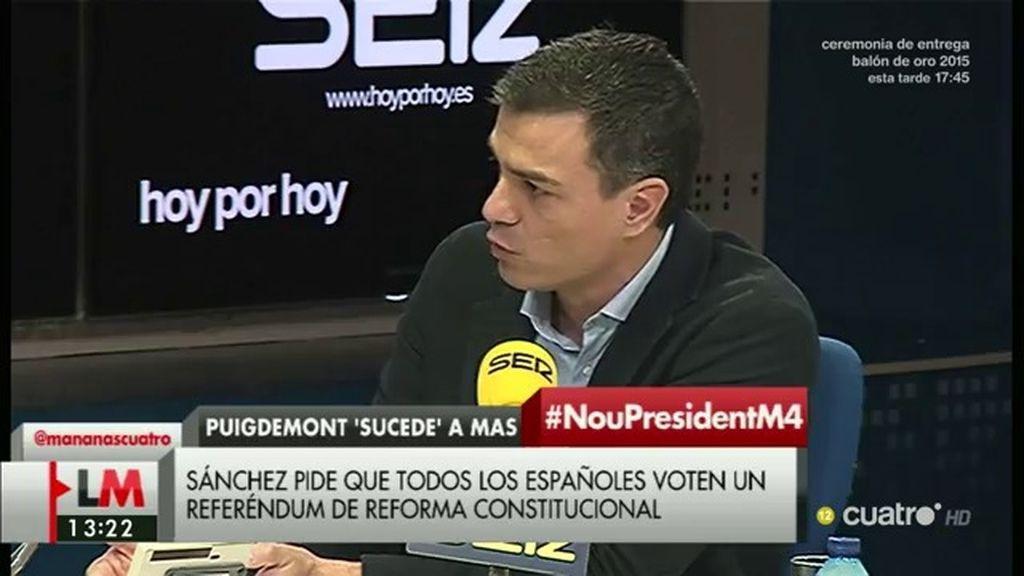 """Pedro Sánchez: """"España necesita un referéndum de reforma de la Constitución"""""""