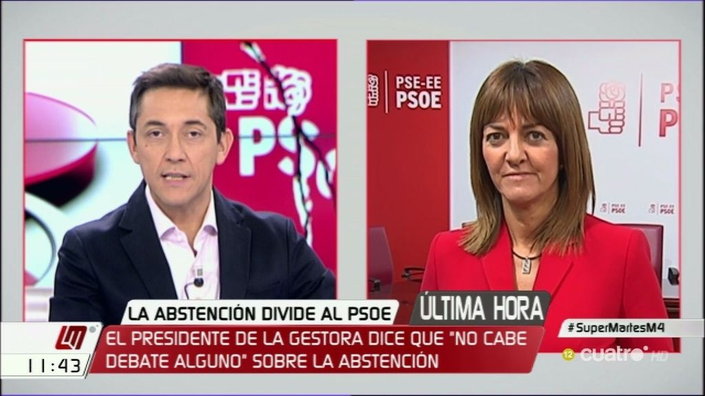 """Idoia Mendia, sobre la gestora del PSOE: """"Están tratando de romper el partido"""""""