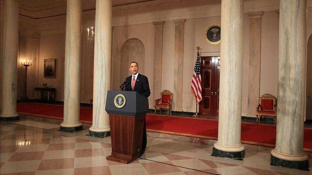 El presidente de Estados Unidos, Barack Obama, pronuncia un discurso acerca de la decisión de su homólogo de Egipto, Hosni Mubarak, de no presentarse a las próximas elecciones. EFE