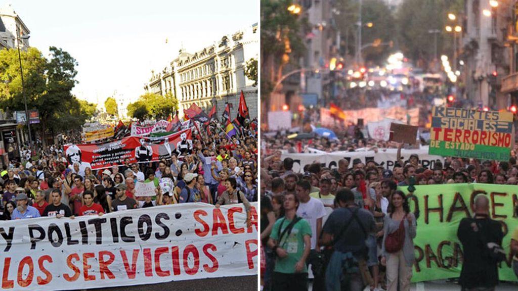 Multitudinarias manifestaciones en defensa de la Educación y la Sanidad recorren Madrid y Barcelona