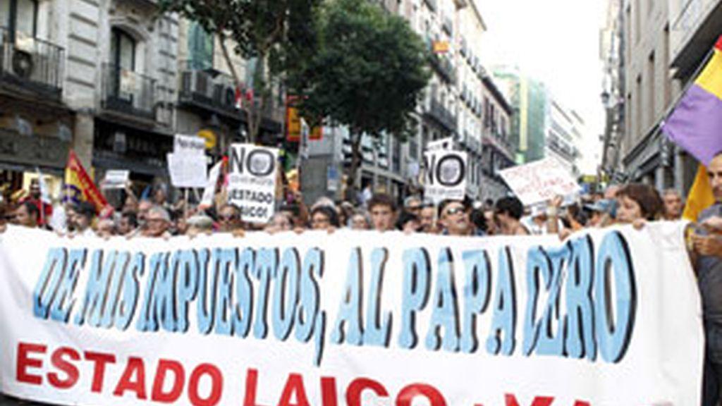 Imagen de la manifestación laica contra la que supuestamente quería atentar el detenido. Foto: Gtres