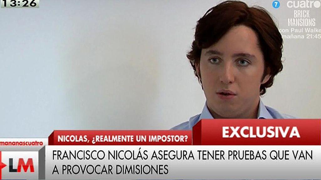 """Francisco Nicolás: """"Si es necesario sacaré la primera prueba, tendrá que haber dimisiones"""""""