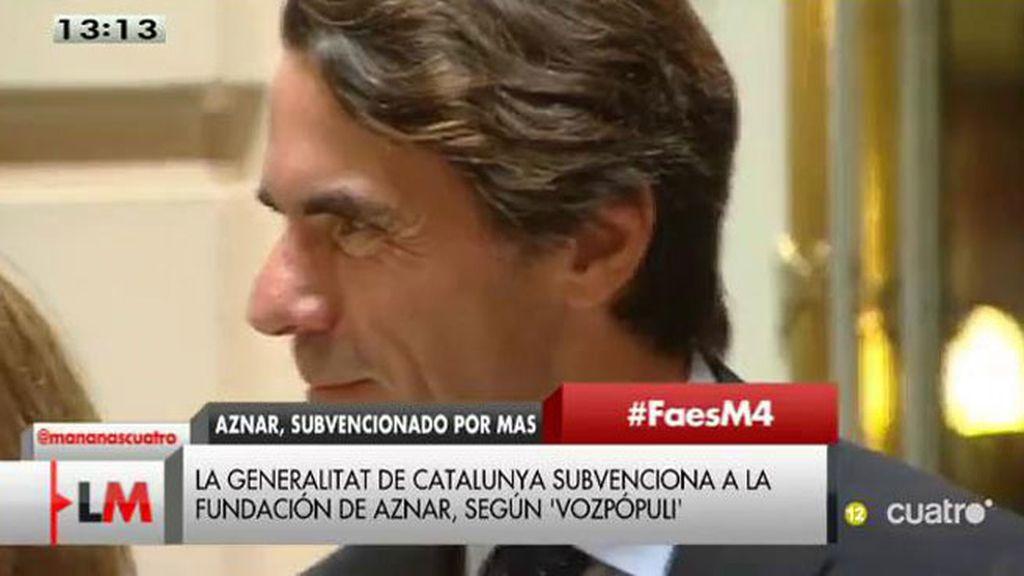 Aznar, crítico con el proceso independentista, recibe subvenciones de Cataluña
