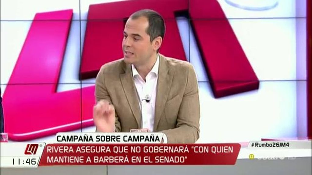 """Aguado (C's), sobre el presidente de Murcia: """"Como en cualquier comunidad, si hay un imputado por corrupción política, se va"""""""