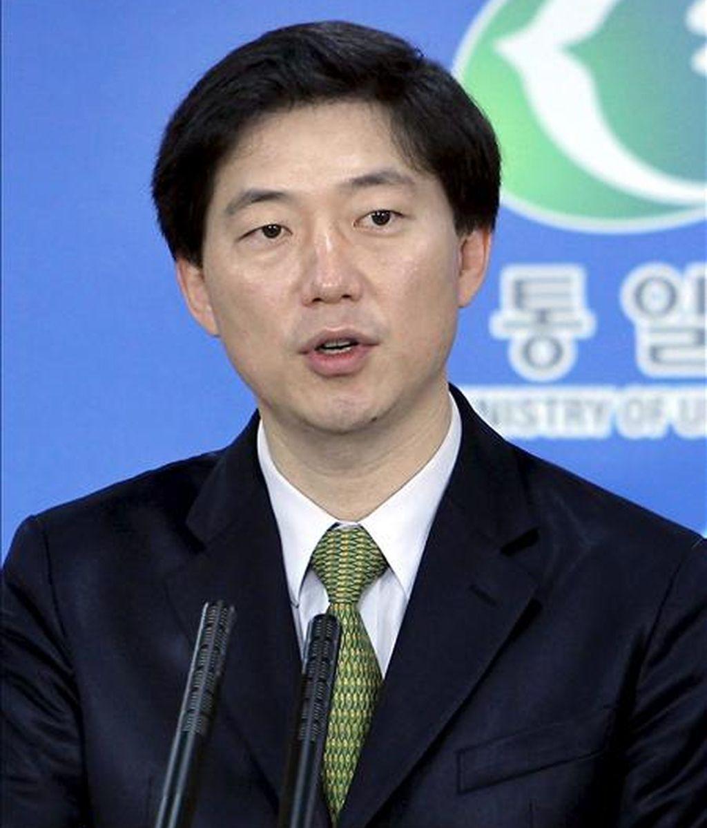 El portavoz del Ministerio de Unificación surcoreano, Chun Hae-sung, comparece en rueda de prensa en Seúl (Corea del Sur). EFE/Archivo