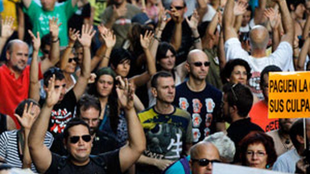 'Indignados' del 15-M protestan en la Puerta del Sol en Madrid. Foto: REUTERS
