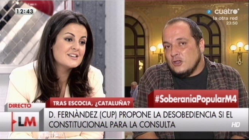 """Ketty Garat, a D. Fernández: """"¿Cómo puedes defender la democracia si apoyas la desobediencia civil?"""""""