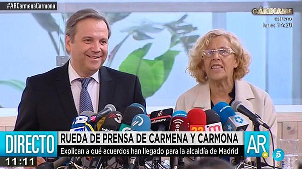 """M. Carmena, tras el pacto con el PSOE: """"Hemos querido reforzar lo que nos une"""""""