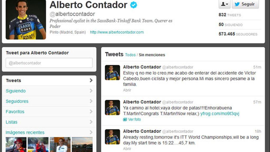 El twitter de Alberto Contador