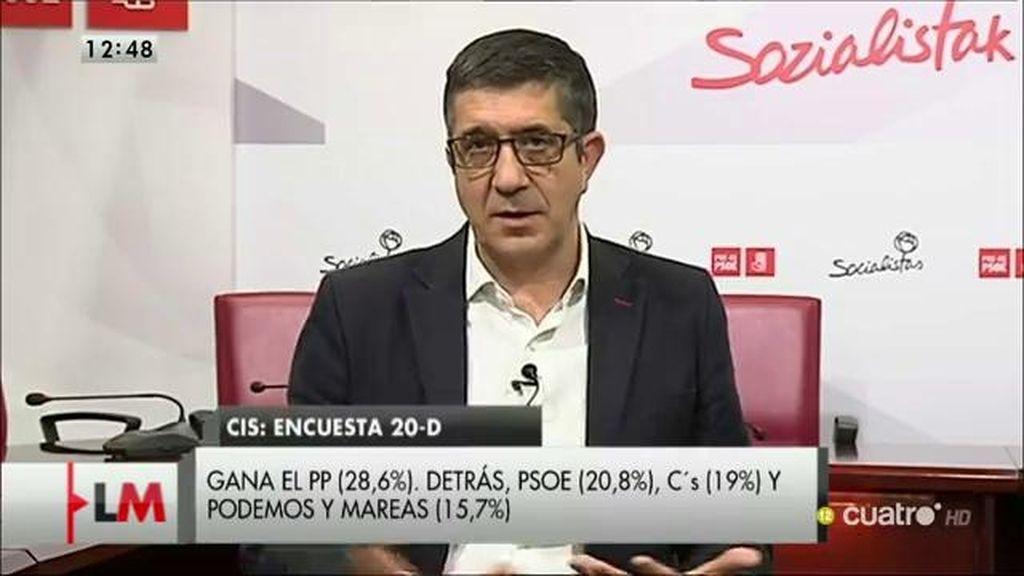 """Patxi López: """"Las encuestas confirman la idea de que la única alternativa posible a las derechas es el PSOE"""""""