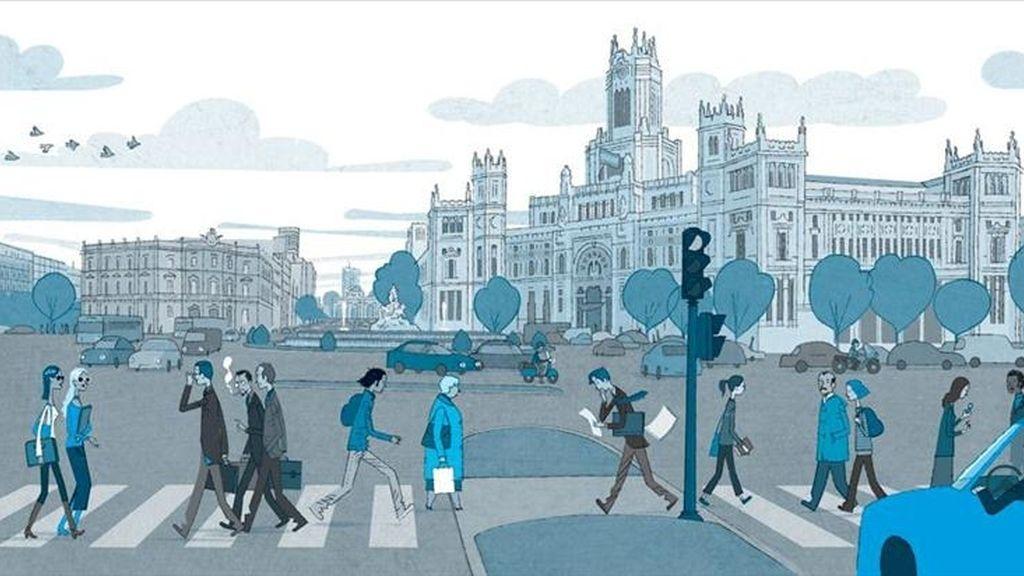 Imagen facilitada por Treseditores de una de las ilustraciones de los libros que ha lanzado esta editorial y que plasman las calles, plazas, parques, museos y edificios emblemáticos de las principales urbes españolas. EFE
