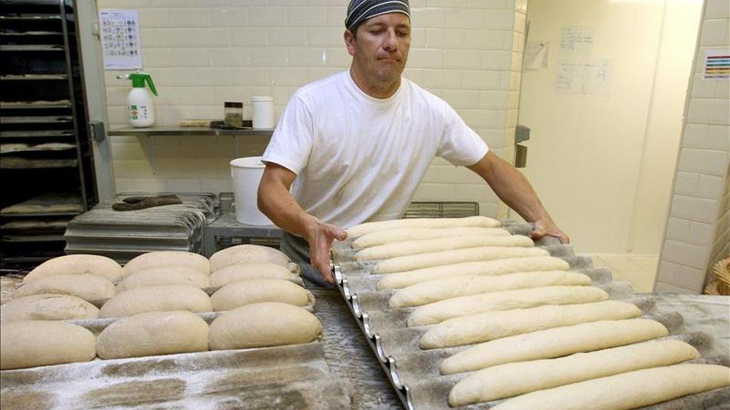 En la imagen, un panadero introduciendo la masa en el horno. EFE/Archivo