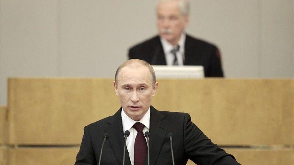 El primer ministro de Rusia, Vladímir Putin, presenta ante la Duma o Cámara de Diputados su informe anual sobre la gestión del Gobierno, el tercero desde que encabeza el Gabinete de Ministros, en Moscú, Rusia, hoy, 20 de abril de 2011. EFE