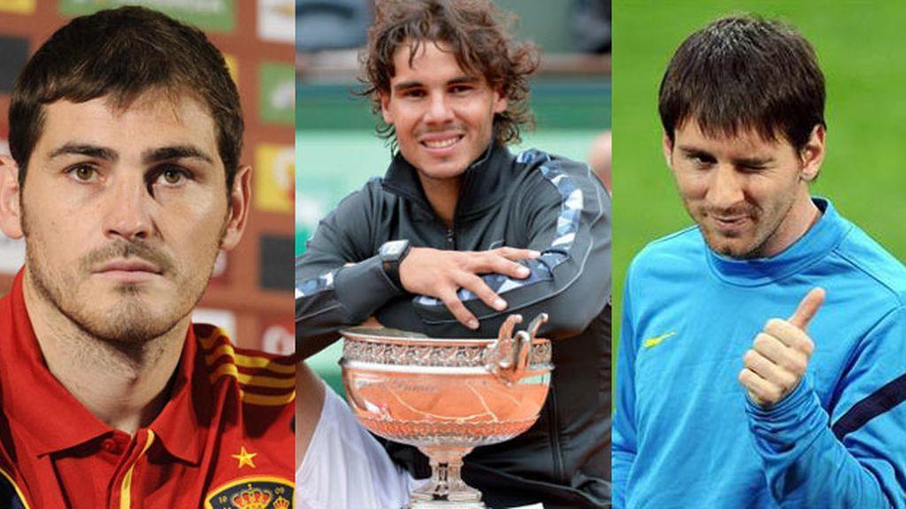 Casillas, Nadal y Messi, dan la felicidad a los españoles