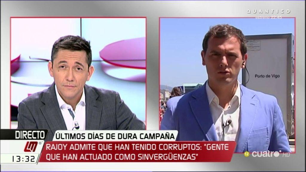 """Albert Rivera responde a Mariano Rajoy: """"Una medida contra la corrupción sería no destruir discos duros a martillazos"""""""