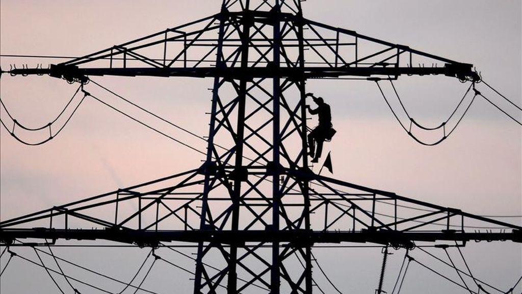 En la imagen, un trabajador en una torre electrica. EFE/Archivo