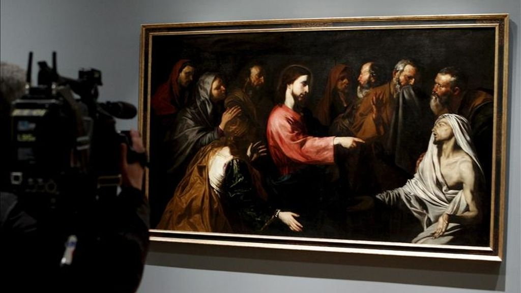 """Imagen del cuadro """"La resurrección de Lázaro"""" (1616), que forma parte de la exposición """"El joven Ribera"""", que hoy se presentó en el Museo del Prado, formada por una treintena de obras que el pintor de Xátiva hizo durante su etapa pictórica más temprana y que muestra los inicios en Italia de este referente del Barroco pictórico. EFE"""