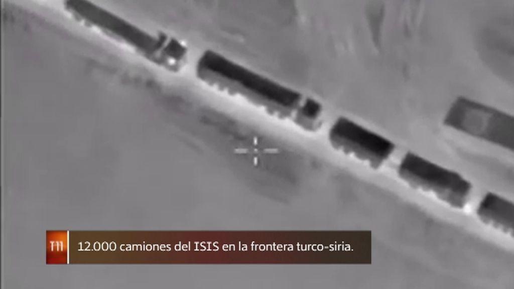 Un dron presencia el traslado de camiones con petróleo del ISIS a Turquía