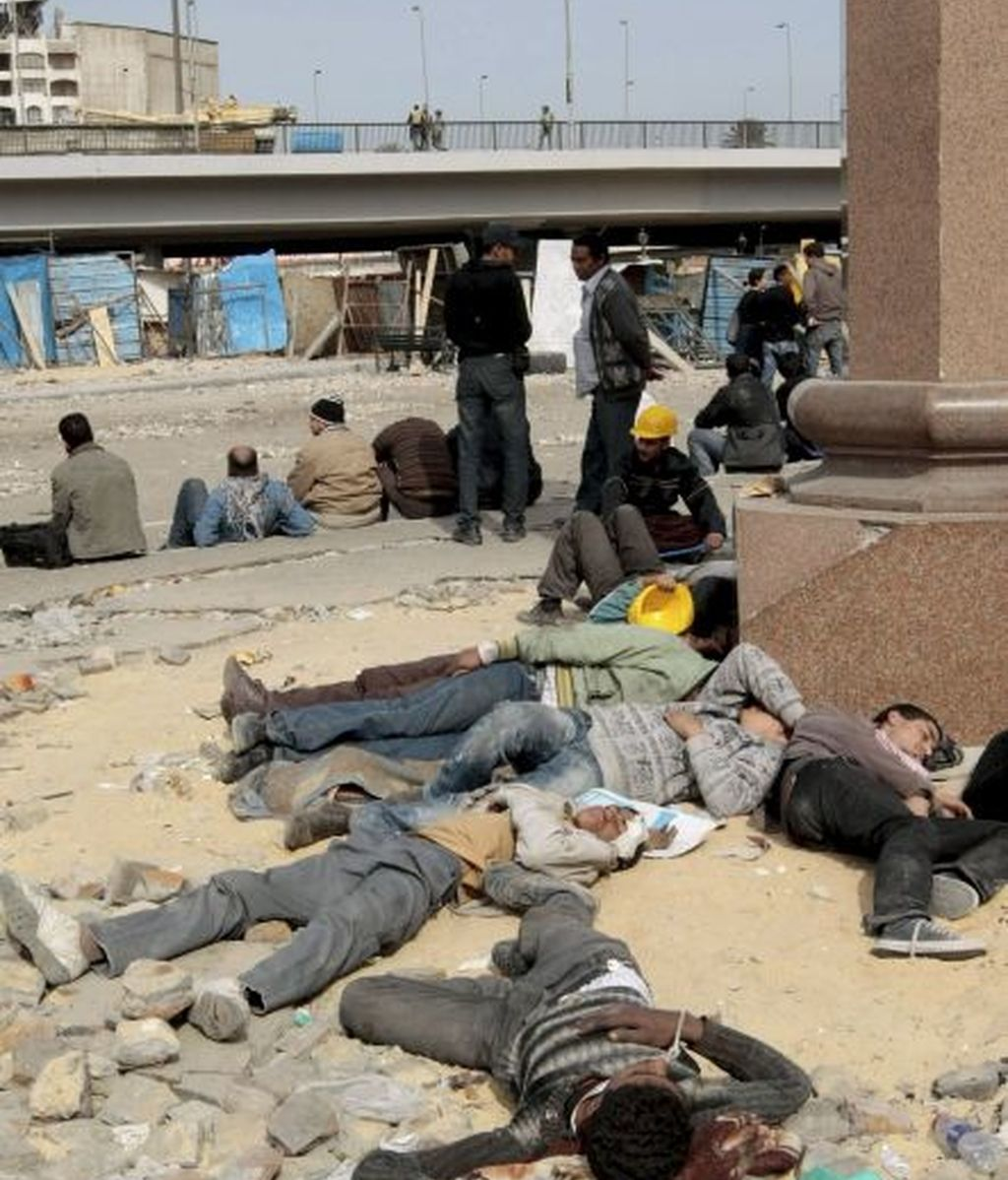 Descansando en la Plaza de Tahrir