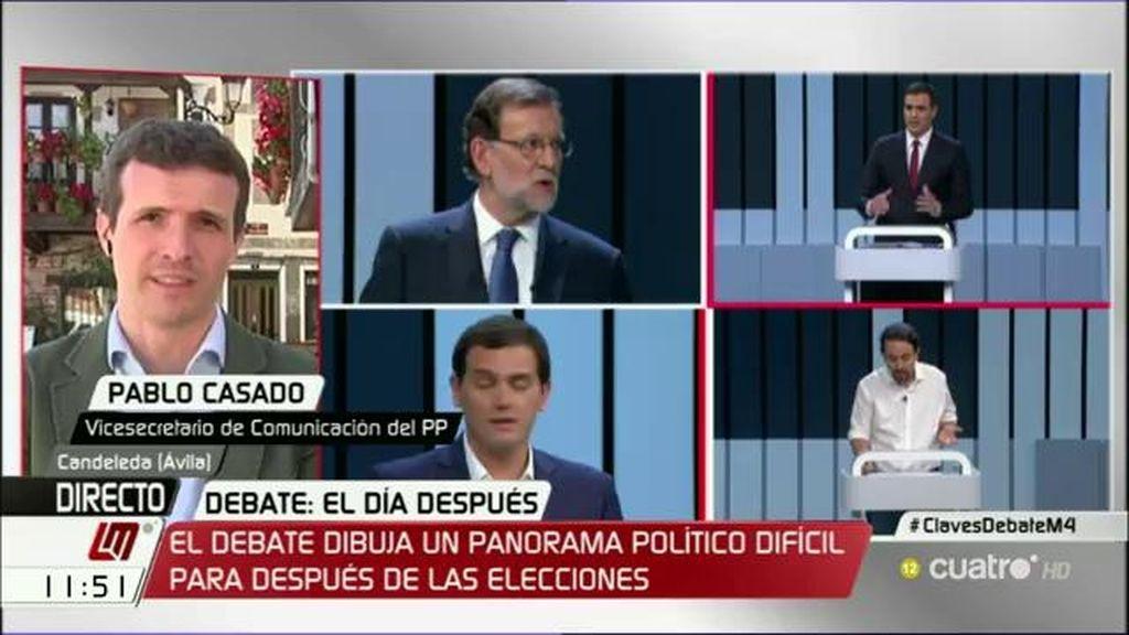 """Casado: """"Ante la agresividad en el bloque de corrupción, Rajoy salió muy hábilmente"""""""