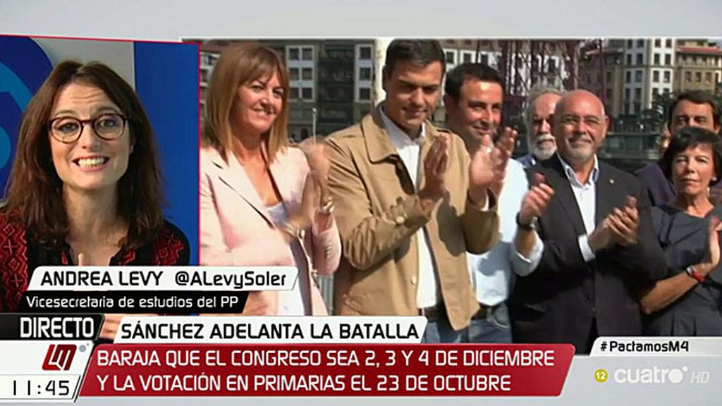 """Andrea Levy: """"Pedro Sánchez debe dejar ya de estar en las nubes y no presentarse"""""""