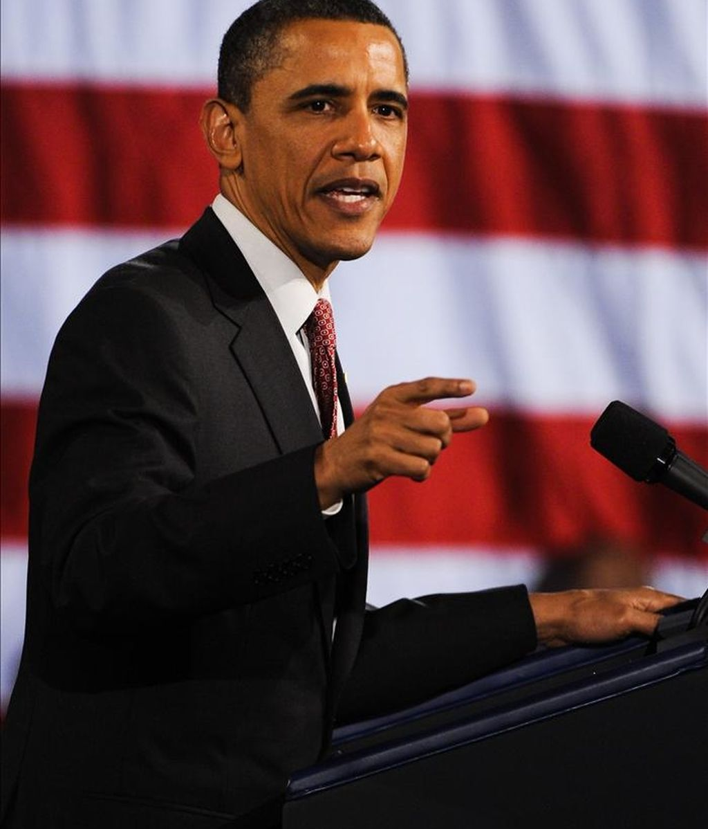 El presidente de Estados Unidos Barack Obama pronuncia un discurso en un evento de recolección de fondos para la Convención Democrática Nacional y su campaña de re-elección 2012, ayer 14 de abril, en el Navy Pier en Chicago, Illinois (EE.UU.). EFE