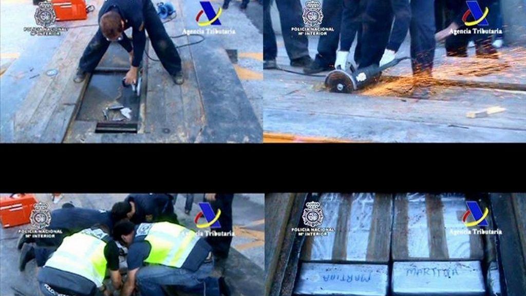 Fotocomposición facilitada por la Policía Nacional que ha detenido a diez personas en una operación policial que ha logrado desarticular una red de narcotraficantes que introducía hachís desde Marruecos oculto en el doble fondo de camiones y lo distribuía en España, Francia e Italia. EFE