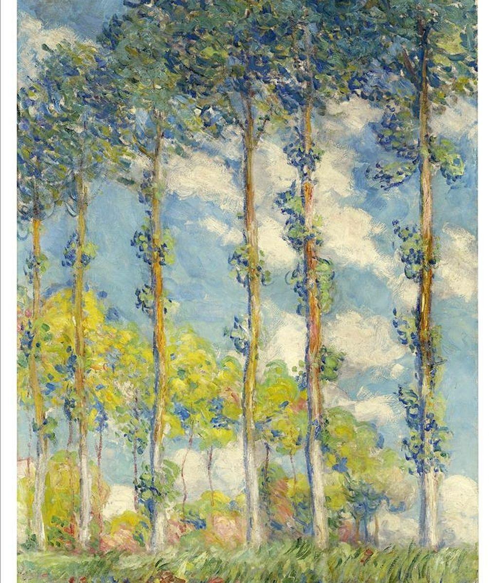 """Fotografía cedida en donde se aprecia el óleo """"Les peupliers"""", de Claude Monet (1840-1926), que lideró con un precio de 22,48 millones de dólares la subasta de arte impresionista y moderno que celebró Christie's este miércoles en Nueva York (EE.UU.). EFE"""
